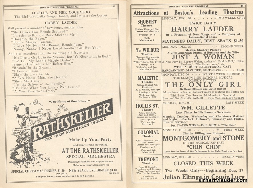 Shubert Theatre Boston Program Booklet Dated Dec 20 1915 -4