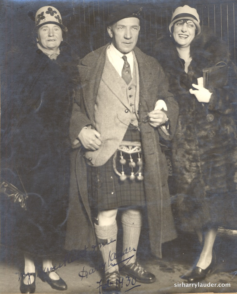 Sir Harry & Lady Lauder With Unidentified Inscribed Feb 1930