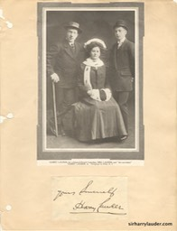 Sir Harry Lady Lauder & John Lauder Scrapbook Page With Autograph Undated