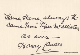 Small Card Inscribed & Signed As Ever With Line Piper McAllister Verso Recd 3 17 38