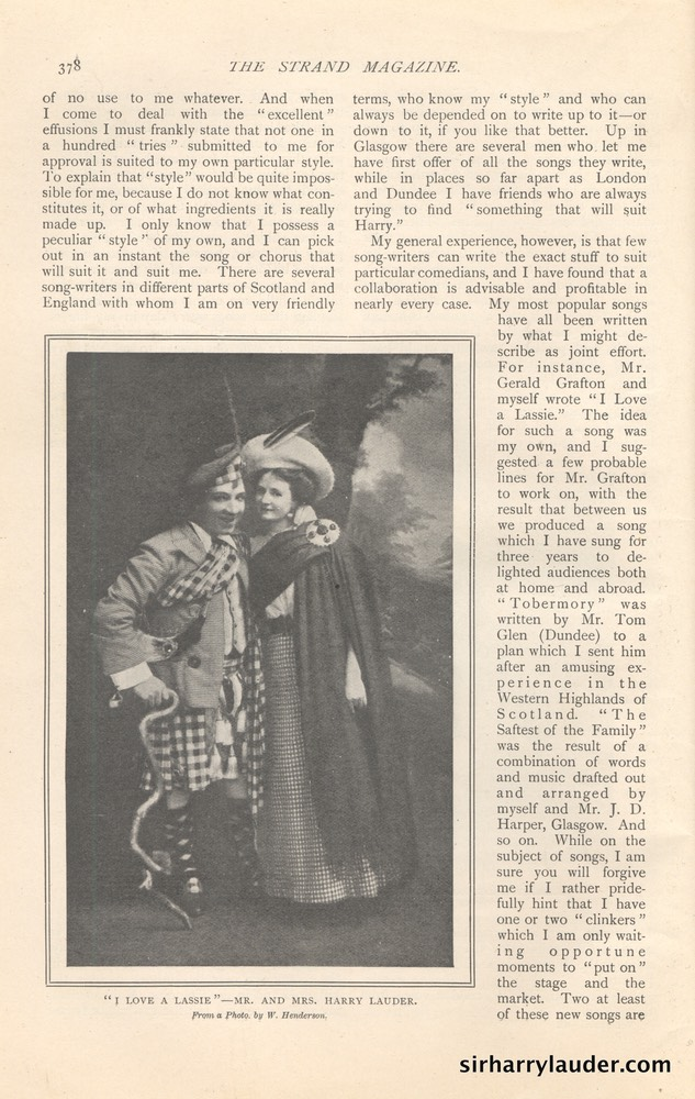 Strand Magazine My Reminiscenes By Harry Lauder April 1909 -9