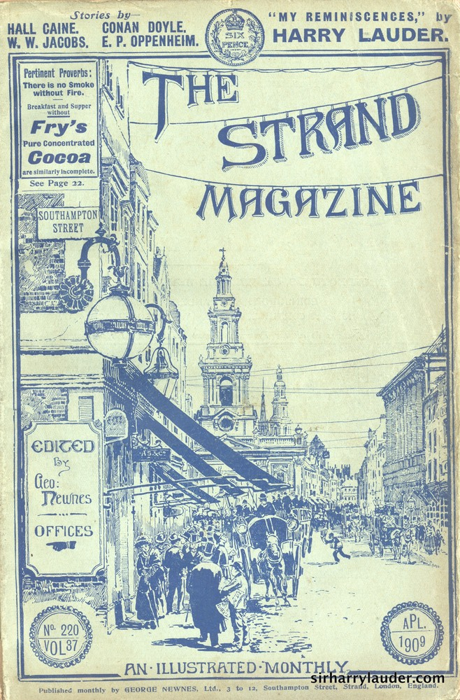 Strand Magazine My Reminiscenes By Harry Lauder April 1909 -Cover