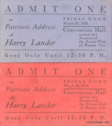 Tickets To Patriotic Address By Sir Harry In Kansas City Mar 22 1918