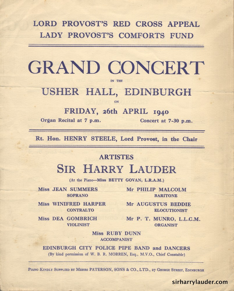 Usher Hall Edinburgh Lord Provost's Red Cross Appeal Programme Bi Fold Apr 26 1940 Cover