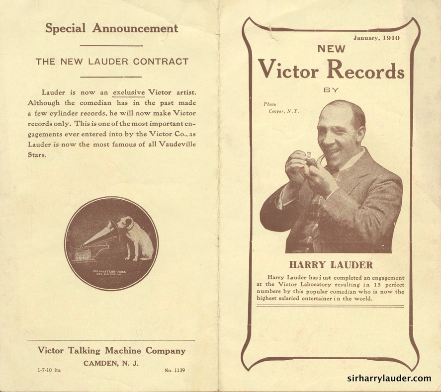 Victor Records Pamphlet New Lauder Records Jan 1910 -1