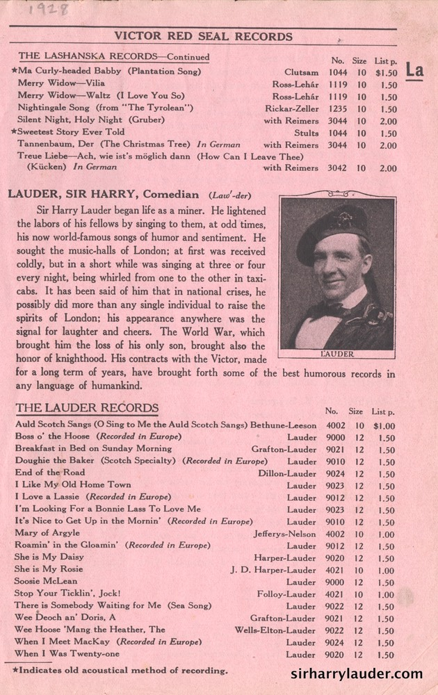 Victor Red Seal Catalog Page 1928