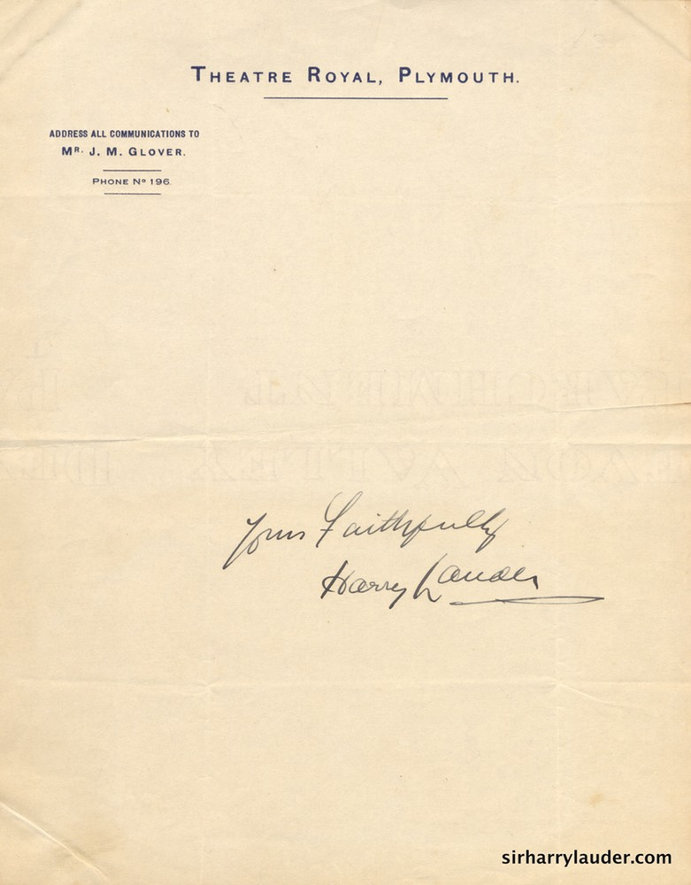 Yours Faithfully Autograph On Theatre Royal Plymouth Stationary Undated